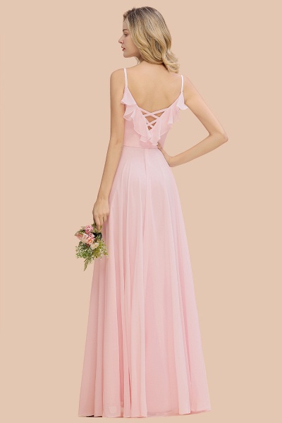 BM0784 Stylish Straps V-neck A-line Long Bridesmaid Dress_3