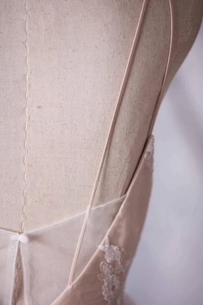 Spaghetti Strap Ruffle Lace A-line Wedding Dress_6