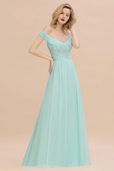 BM0754 Appliques A-line Sweetheart Ruffles Simple Bridesmaid Dress_6