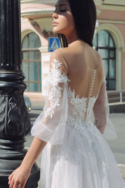 Latest Court Train Tulle Appliques Wedding Dress_5