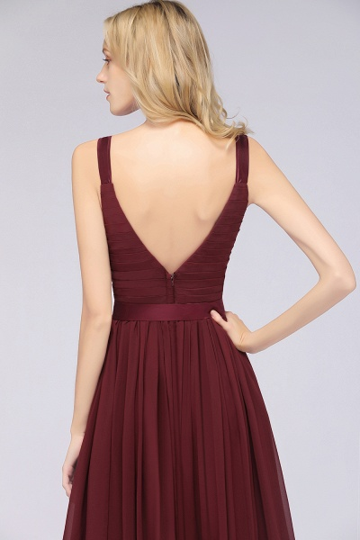 A-Line Chiffon Straps V-Neck Sleeveless Backless Floor-Length Bridesmaid Dress with Ruffles_41