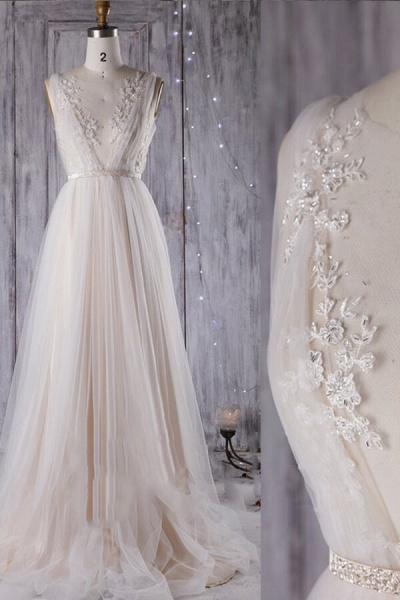 Graceful Appliques Sweep Train A-line Wedding Dress_4