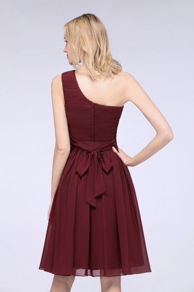 A-Line Chiffon One-Shoulder Sleeveless Knee-Length Bridesmaid Dress with Ruffles_6