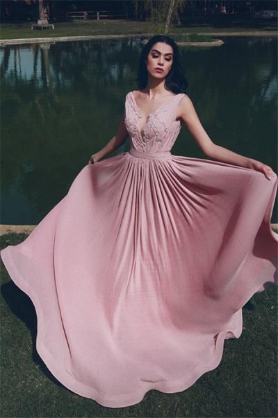 Sleek V-neck Chiffon A-line Evening Dress_1