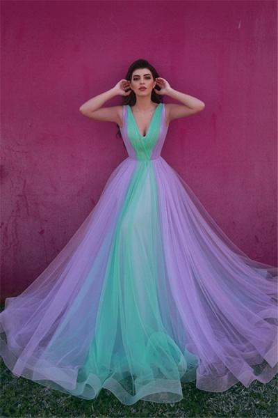 Best V-neck Tulle A-line Evening Dress_1