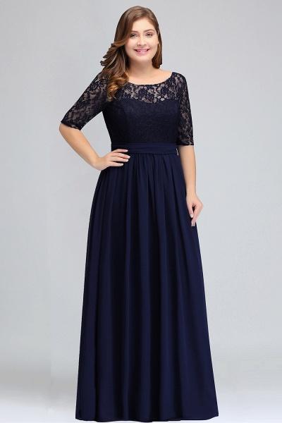 BM0952 Plus Size Elegant Half-Sleeves Lace Bridesmaid Dresses with Bow_1