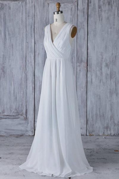 Elegant Ruffle Chiffon A-line Wedding Dress_2
