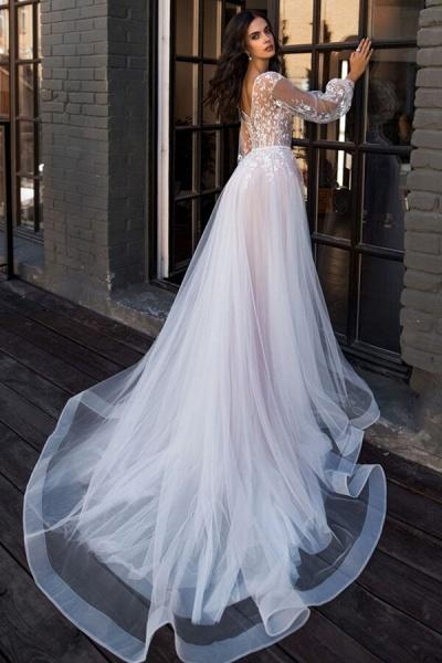 Chic Chapel Train Long Sleeve Tulle Wedding Dress_3