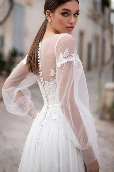 Long Sleeve A-line Appliques Tulle Wedding Dress_3