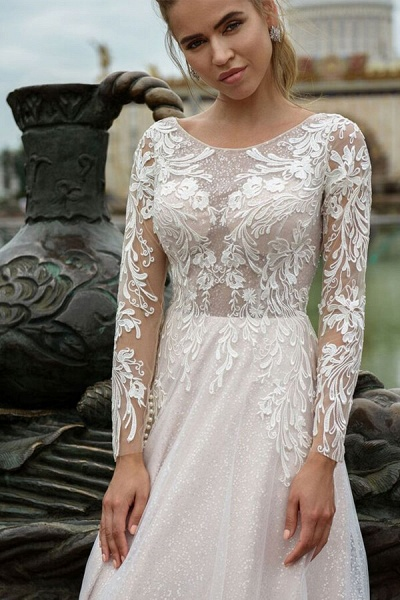 Glorious Long Sleeve Appliques A-line Wedding Dress_4