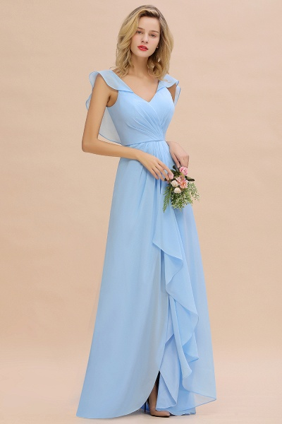 BM0777 Simple Hi-Lo V-Neck Ruffles Long Bridesmaid Dress_4