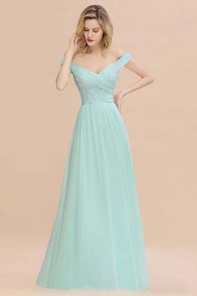 BM0754 Appliques A-line Sweetheart Ruffles Simple Bridesmaid Dress_4