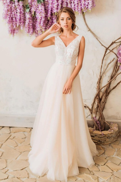 Sleeveless V-neck Floor Length A-line Wedding Dress_1