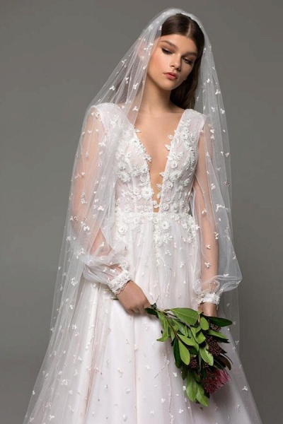 Long Sleeve Chapel Train Tulle A-line Wedding Dress_5