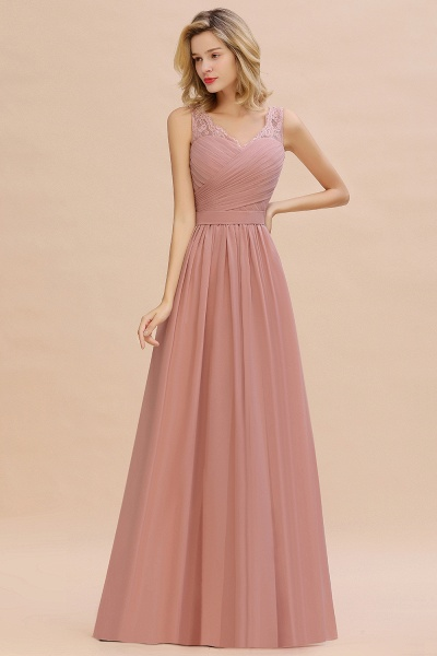 Eye-catching V-neck Lace A-line Evening Dress_9