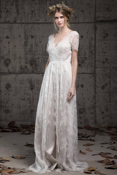 Elegant Short Sleeve A-line Lace Wedding Dress_1