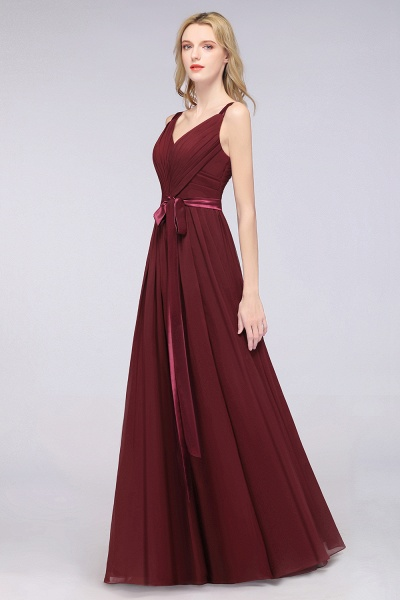 A-Line Chiffon Straps V-Neck Sleeveless Backless Floor-Length Bridesmaid Dress with Ruffles_42