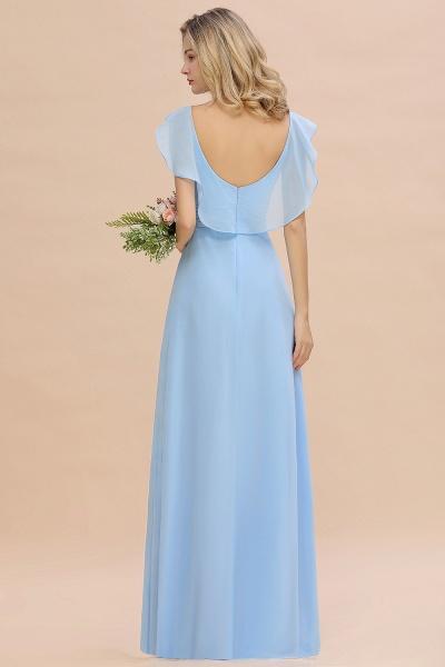 BM0777 Simple Hi-Lo V-Neck Ruffles Long Bridesmaid Dress_3