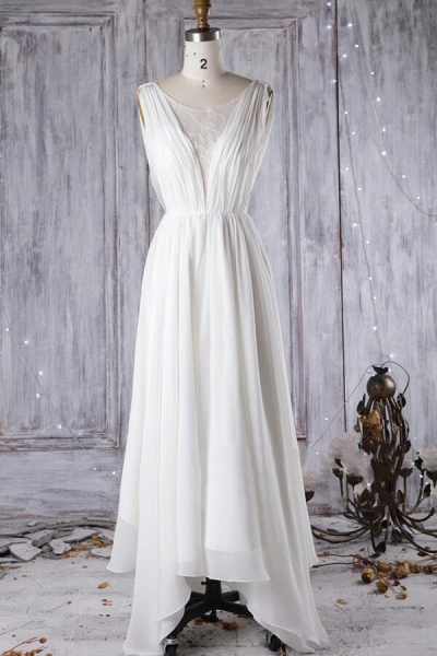 Affordable Asymmetric Lace Chiffon Wedding Dress_1
