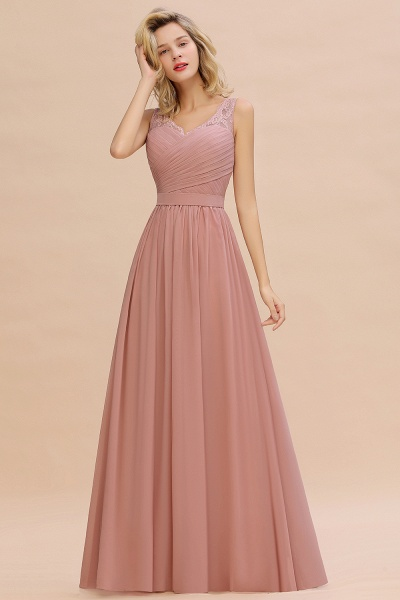 Eye-catching V-neck Lace A-line Evening Dress_7