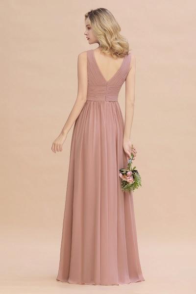 BM0752 Elegant A-line V-Neck Ruffles Long Bridesmaid Dress_3