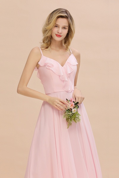 BM0784 Stylish Straps V-neck A-line Long Bridesmaid Dress_8