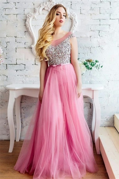 Exquisite Scoop Tulle A-line Evening Dress_1