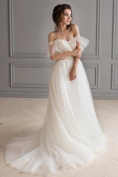 Amazing Appliques Tulle Chapel Train Wedding Dress_2