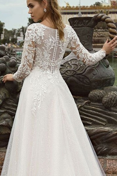 Glorious Long Sleeve Appliques A-line Wedding Dress_5