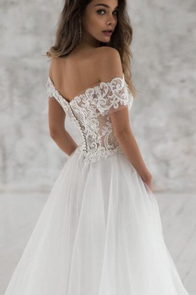 Elegant Short Sleeve Appliques Tulle Wedding Dress_5