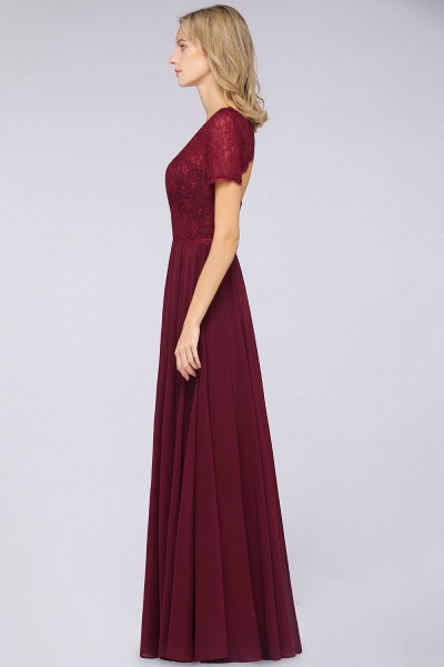 A-Line Chiffon Lace Round-Neck Short-Sleeves Floor-Length Bridesmaid Dress_6