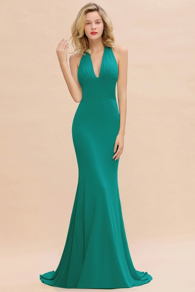 BM0670 Elegant Mermaid Halter Pool V-neck Bridesmaid Dress_31