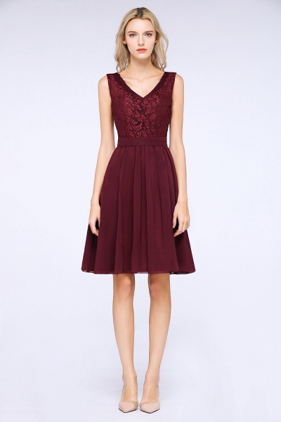 A-Line Chiffon Lace V-Neck Sleeveless Knee-Length Bridesmaid Dress with Ruffles_4