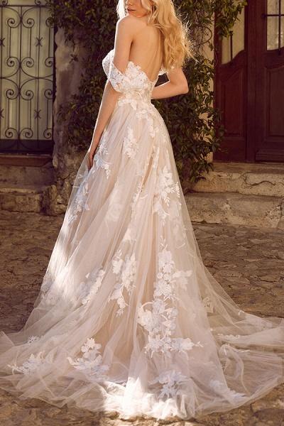 Elegant Chapel Train Appliques Tulle Wedding Dress_3