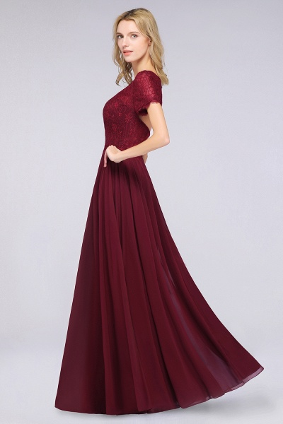 A-Line Chiffon Lace Round-Neck Short-Sleeves Floor-Length Bridesmaid Dress_5