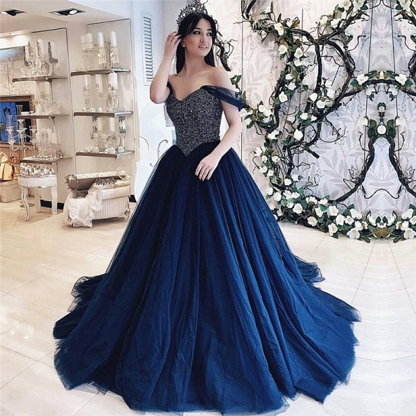 Precious Off-the-shoulder Sequined Ball Gown Quinceanera Dress_1