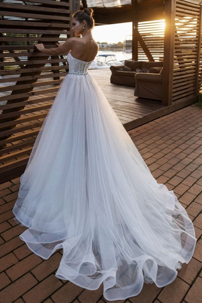 Strapless Beading Chapel Train A-line Wedding Dress_3