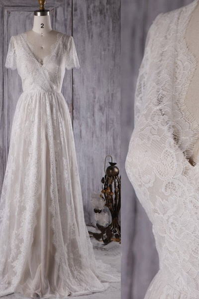 Elegant Short Sleeve A-line Lace Wedding Dress_4