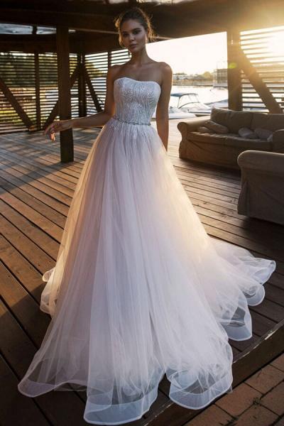 Strapless Beading Chapel Train A-line Wedding Dress_1