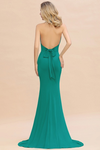 BM0670 Elegant Mermaid Halter Pool V-neck Bridesmaid Dress_32