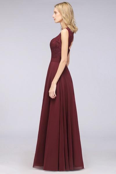 A-Line Chiffon Lace V-Neck Sleeveless Floor-Length Bridesmaid Dress_40