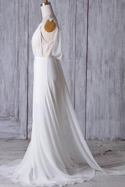 Affordable Ruffle Chiffon Sheath Wedding Dress_4