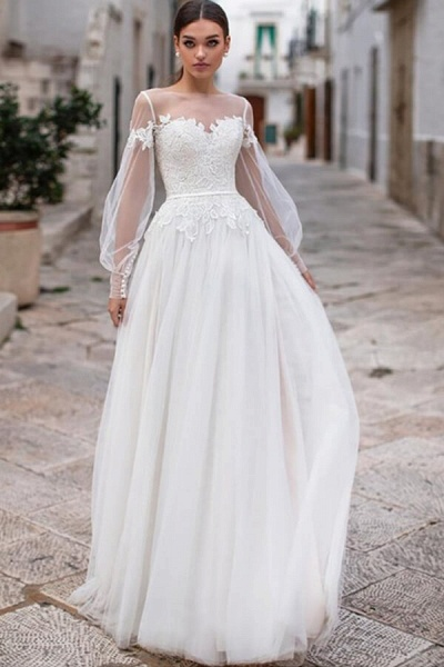 Long Sleeve A-line Appliques Tulle Wedding Dress_1