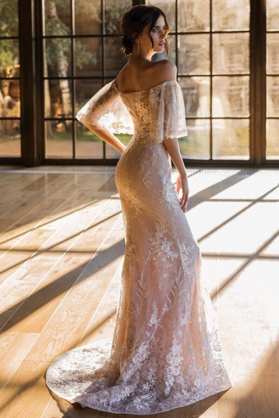 Awesome Off-the-shoulder Lace Sheath Wedding Dress_3