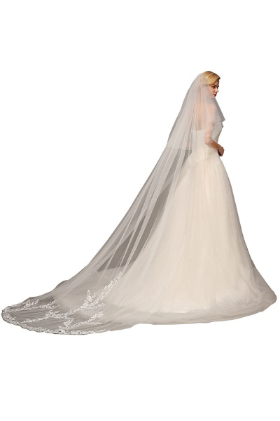 Excellent Lace Tulle Cathedral Wedding Veils_3
