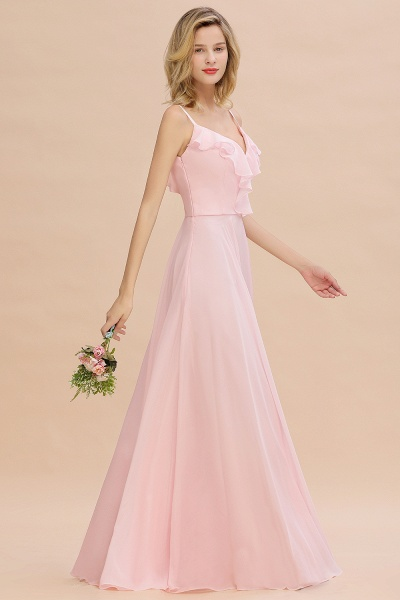 BM0784 Stylish Straps V-neck A-line Long Bridesmaid Dress_5