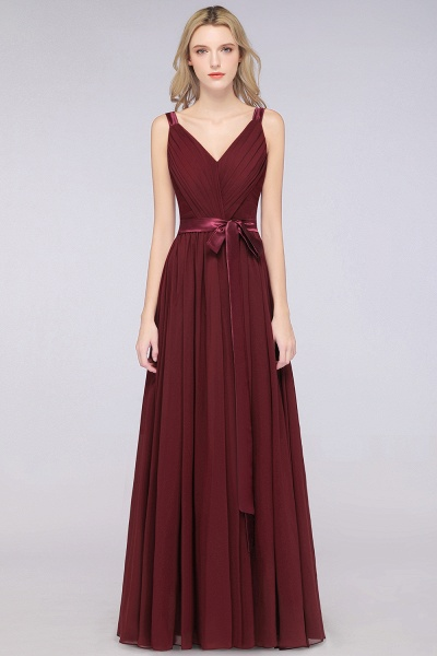 A-Line Chiffon Straps V-Neck Sleeveless Backless Floor-Length Bridesmaid Dress with Ruffles_37