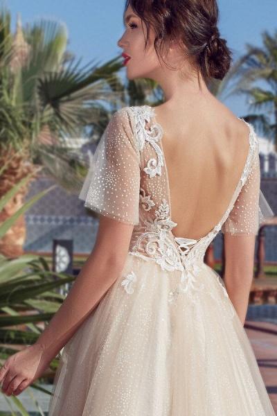 Appliques Short Sleeve Court Train Wedding Dress_5