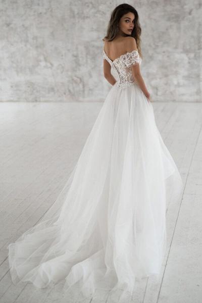 Elegant Short Sleeve Appliques Tulle Wedding Dress_3