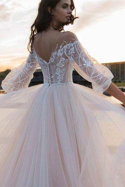 Eye-catching Lace Tulle Chapel Train Wedding Dress_5